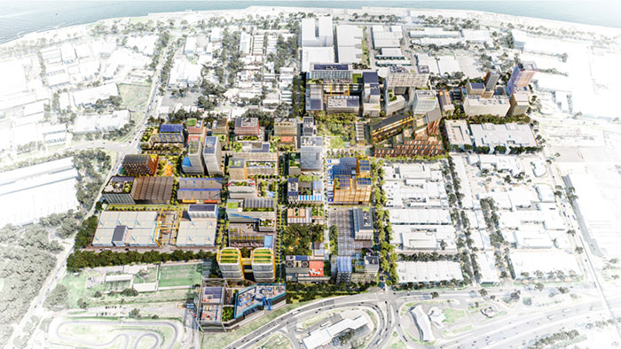 Elevated aerial view of the new world class Innovation Precinct in the former General Motors Holden site (digital render).